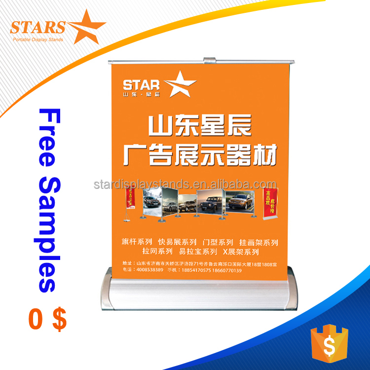Top Quality Competitive Price Tabletop Book Display Stands , Mini Desktop Roll Up Banner Stand