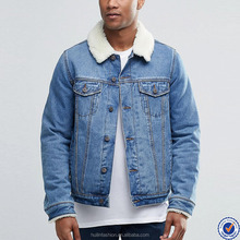 wholesale denim jackets button placket washed mens denim jacket with lamb wool collar