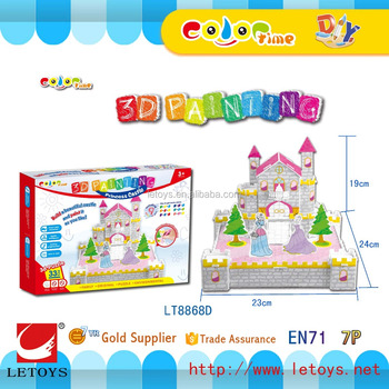 hot sale 3D Castle puzzle for DIY free coloring