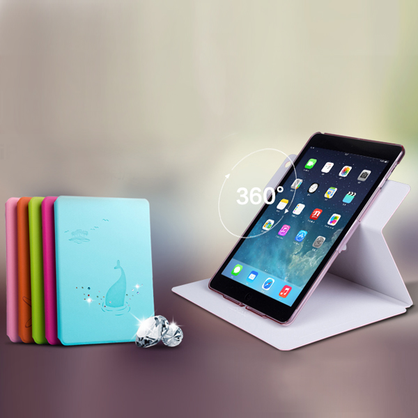High quality for Ipad Air Leather crystal Case with 360 rotating cover