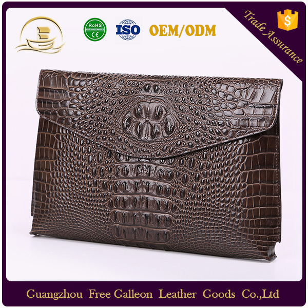 Wholesale Fashion <strong>Design</strong> Customized Genuine Saffiano Leather Men Brown Handbag Zip Clutch Bags