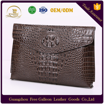 Wholesale Fashion Design Customized Genuine Saffiano Leather Men Brown Handbag Zip Clutch Bags