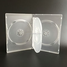 14mm 4 Discs Frosted Clear Plastic Long DVD Case With Tray