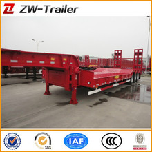 WIDELY USED 3 AXLE 13M 50TONS LOW FLATBED/PLATFORM SEMI TRUCK TRAILER FOR BULK CARGO TRANSPORTATION FOR SALE