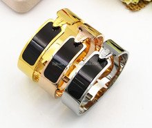 wholesale replica jewelry stainless steel enamel bracelet bangles for women men silver rose gold gold plated