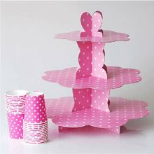 HIC 3 tier silver cardboard cupcake stand, lovely design cake stand for party