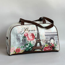 Paris eiffel tower Printed PU Bag Large cute bag for travel or sports Duffel Bag