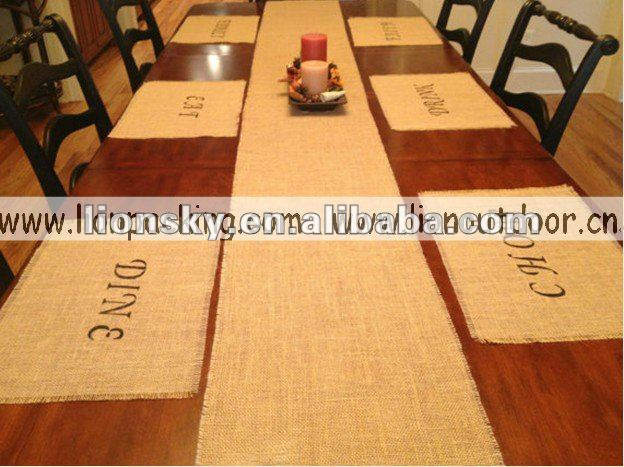 chic burlap table runner for christmas party&Family day