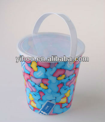 1.6L Colorful PP Plastic Popcorn Bucket With Lid