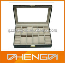 Guangzhou factory sale customized made-in-china leather watch jewel ring box case (ZDW-J024)