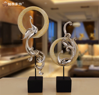 Chinese traditions home decoration pieces custom animal sculpture resin peacock statue