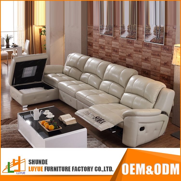 low price furniture white leather reclining sofa modern drawing room sofa set design with storage