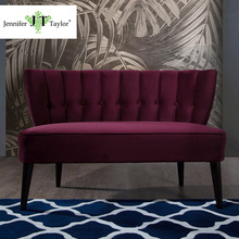 Jennifer Taylor Italian Burgundy Upholstery couch Modern fabric sofa with high wooden legs