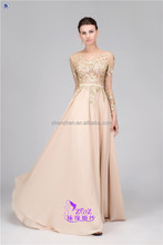 Real Photos MN-E003 High Quality Long Sleeve Backless Well-Appliqued Chiffon Evening Dresses