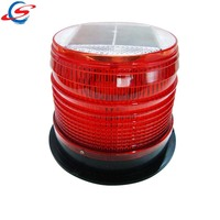 red/blue traffic signal strobe rotating solar power led warning beacon light