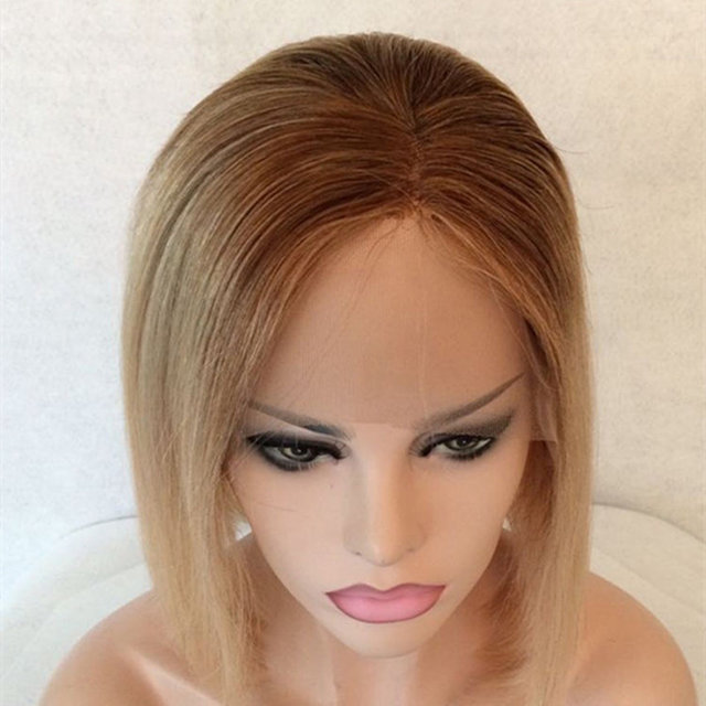 Real ombre original brazilian 12 inch wigs human hair lace front wig for blonde