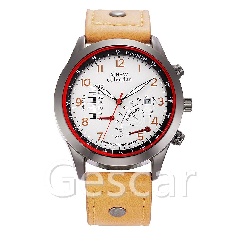 XINEW-5619 fashion charming man sport leather quartz outdoor hand watch