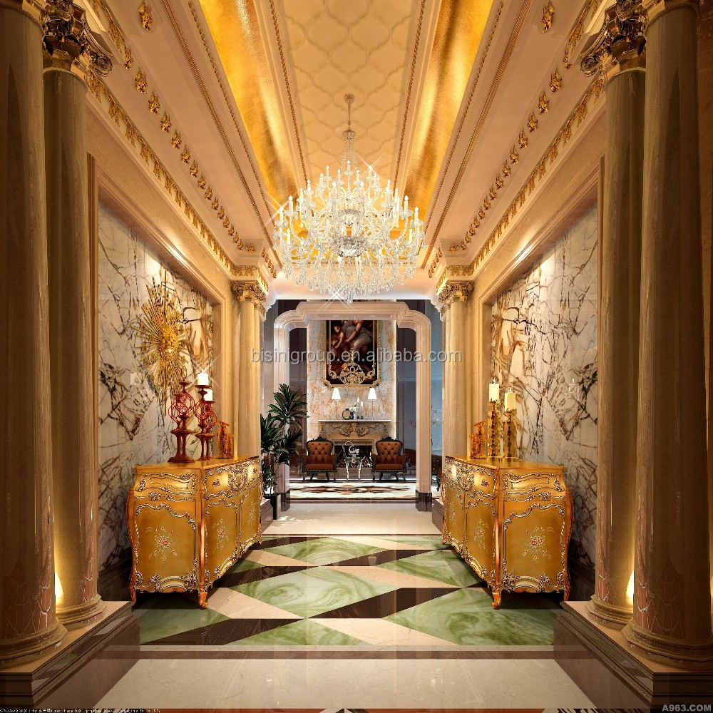 Classic elegant european baroque style hotel hall design for A t design decoration co ltd