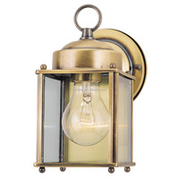 Antique Brass Finish One-Light Exterior Wall Lantern Light on Steel with Clear Glass Panels