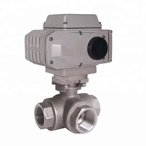 Manufacturing OEM stainless steel Dn25 220V motorsized operated trunnion mounted 3 way ball valve