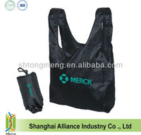 Polyester T-Shirt Reusable Tote Bag With Snap Button