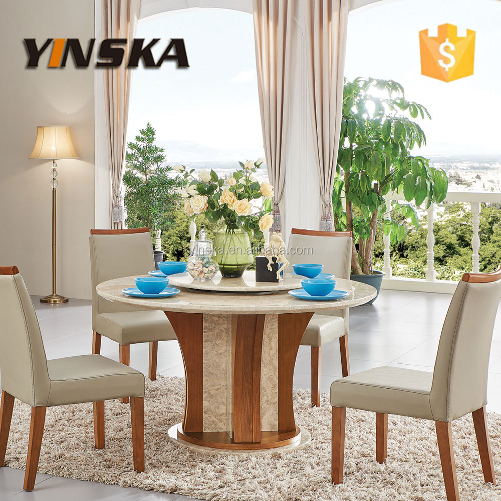 luxury granite top round dining table with lazy susan