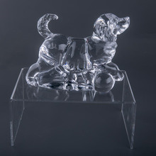 Hand craft mini glass animals clear glass cute gift animal glass doggy figurine hot sale