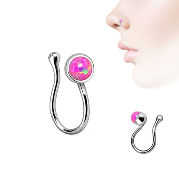 Fashion brass jewelry bezel-set women opal non piercing nose ring