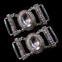 Fashion light pink Glass diamante bikini connector in buckle crystal rhinestone connector buckles for bikini