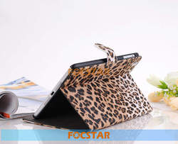 FOCSTAR Leopard Animal Print Premium PU Leather Protective Skin Stand Case Cover for iPad Mini Retina F-IPDMINILC002