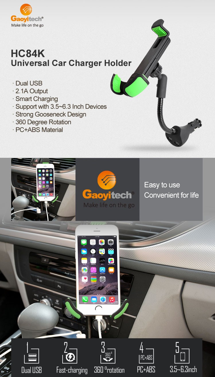 China supplier 2 USB fast charging car charging holder car holder with charger for smartphone tablets