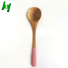Eco-friendly natural small bamboo tea coffee spoon with color handle