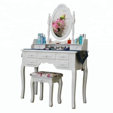 Home Furniture Ivory Vanity Oval Mirror 7 Drawers Wood Makeup Dressing Table