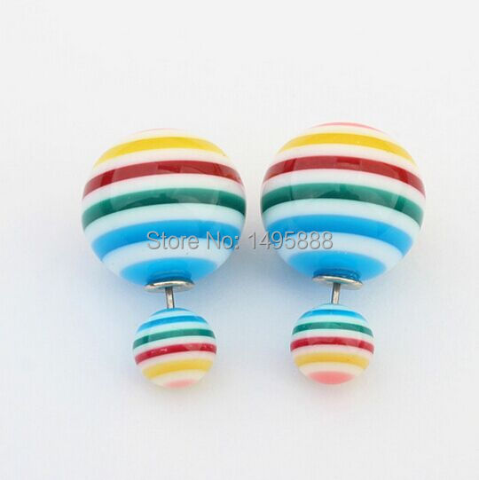 Wholesale Multicolour Zebra Stripe Beads Double Faced Pearl Stud Earring Female Earring Woman Girl gift Wholesale