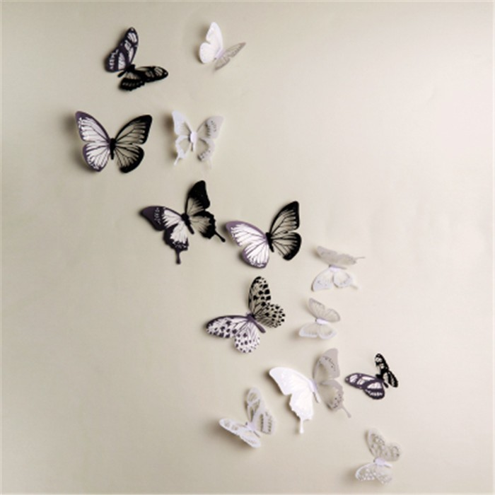 Top quality lovely butterfly wall sticker 3d wall sticker - Deco murale noir et blanc ...