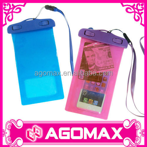 Transparent pvc waterproof mobile phone bag to hold Oyster card