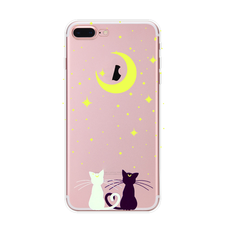 Lovely Cat pattern transperant TPU phone case for iphone 6 7 5s 5se
