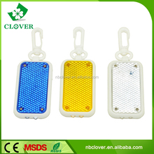 Plastic material clip-on 2 LED reflective keychain flashlight for promotion