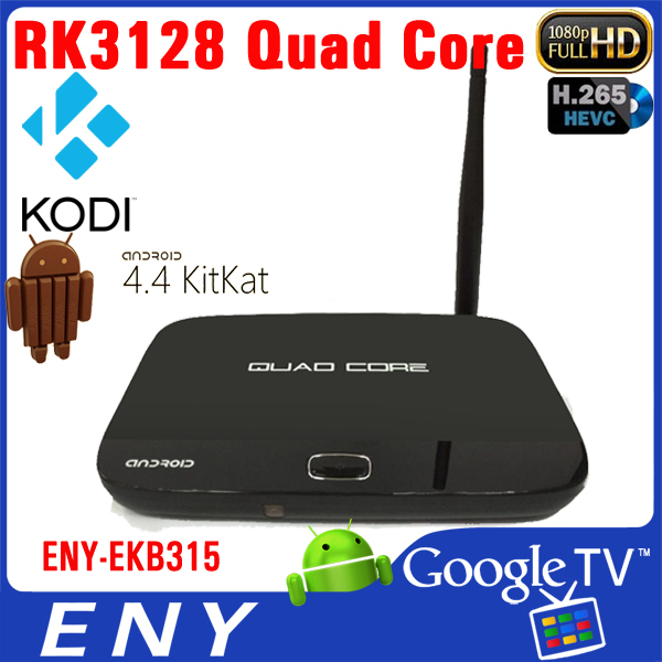 android 4.4 quad core Rockchip 3128 H.265 1GB+8GB external antenna android tv box