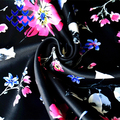 Digital Printed Polyester Fabric Beautiful Floral Pattern With Black background
