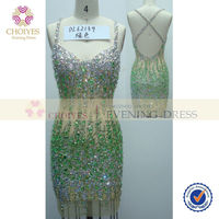 online shop DL62139 Mint backless spaghetti strap see through crystal beaded party dress
