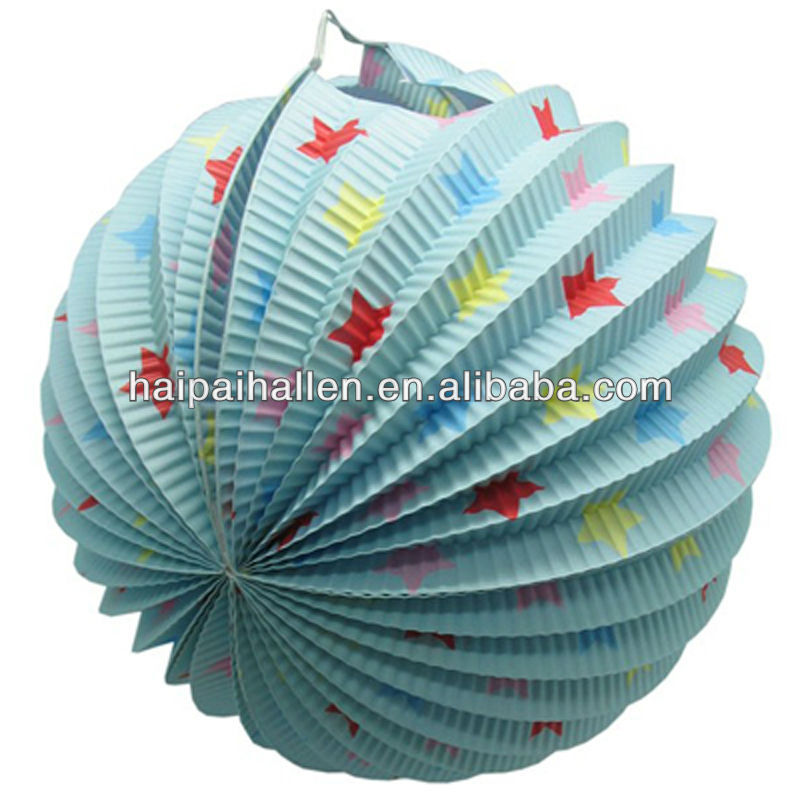 Hand-made stars design accordion paper lantern for holiday decoration