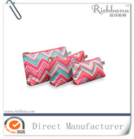 Printed chevron polyester makeup bag cosmetic organizer