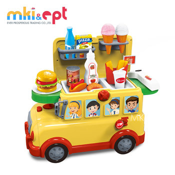 shantou high quality campus musical fast food happy bus toys with light