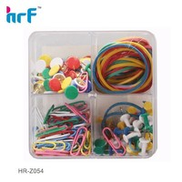 colorful Paper Clip Set With Rubber Bands