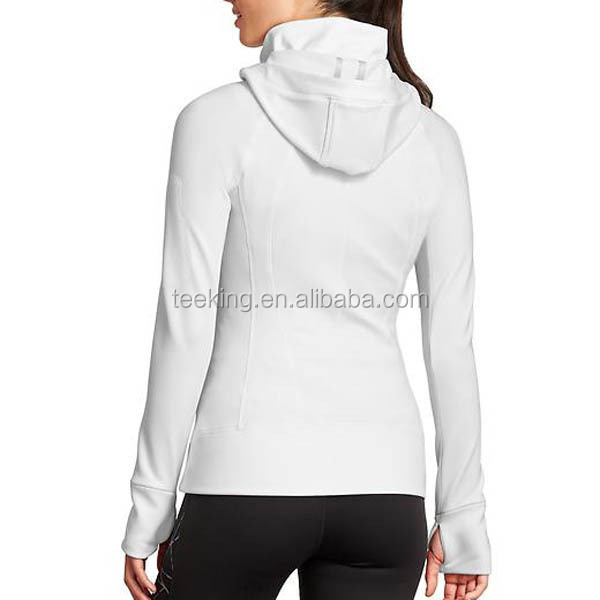 Polyester spandex zipper up wholesale custom women sports hoodie