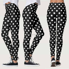 Gym Leggings Women Cute Black And White Polka Dots Pattern Leggings Sport Fitness For Woman 2017