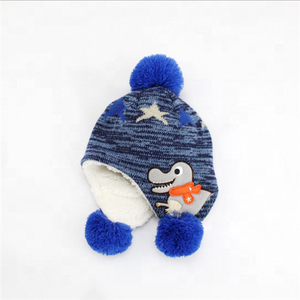 Wholesale Winter Custom Knitted Baby Caps Beanie Hats Warm Children Knitted  Pom Pom Hat 8ef3b026eae