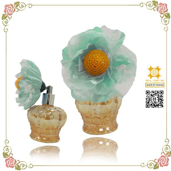 Blue sunflower crown perfume atomizer empty pump bottle