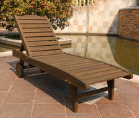 outdoor wooden beach sun lounger